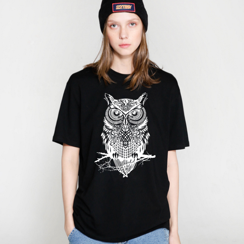 COOLMIND OW0111B Woman new 100% cotton animal Colorful owl printed Women crewneck short sleeve tops pullover   t     shirt