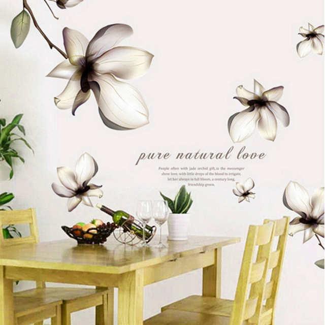 US $3.95 15% OFF|Lily blumen wandaufkleber mangnolia schmetterling sprüche  pvc abnehmbare tv sofa wohnkultur schlafzimmer hintergrund wandtattoos ...