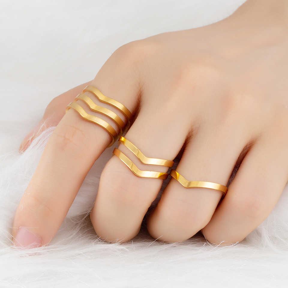 2019 ใหม่อินเทรนด์ Golden เงินเปิดแหวนเรขาคณิต Dainty แหวนสแตนเลสผู้หญิงเครื่องประดับ Charm ของขวัญปรับขนาดได้