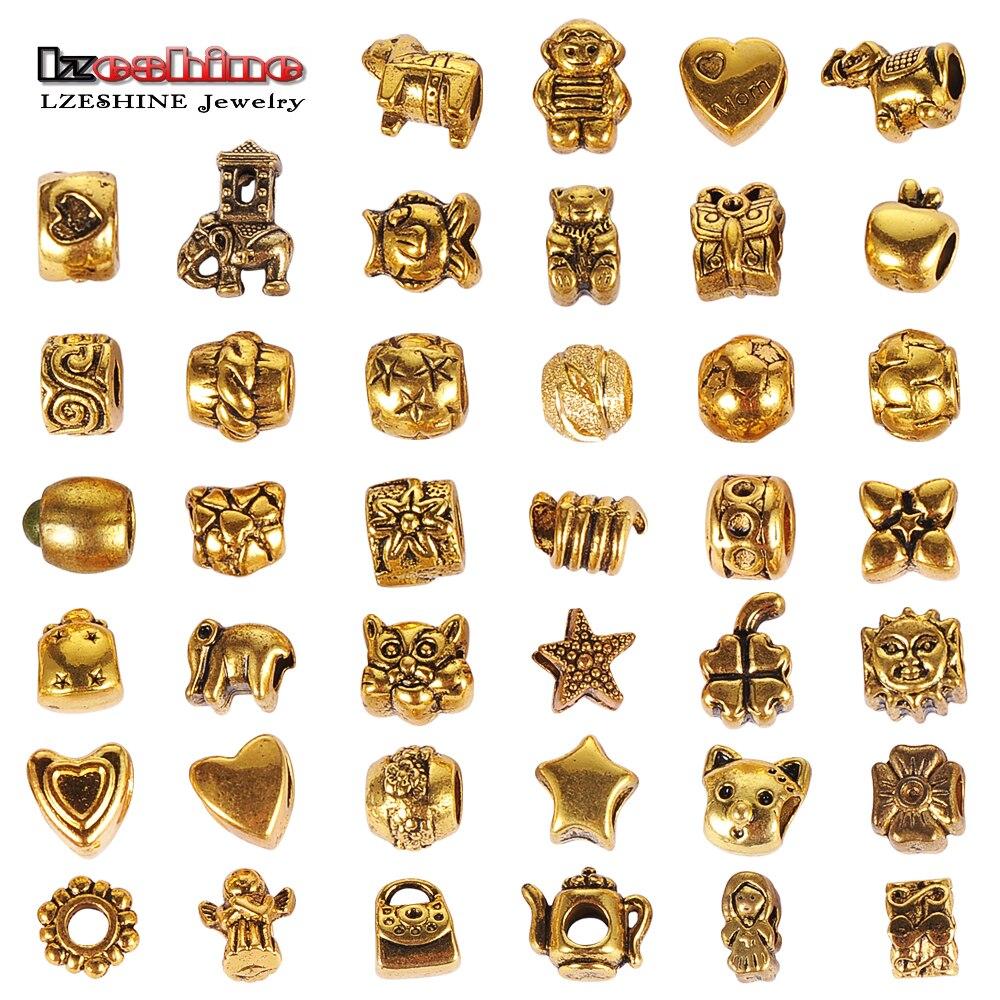 LZESHINE Tibetan Gold Bulk Lots 40Pcs Mixed Beads Fit European Bracelets agmix1