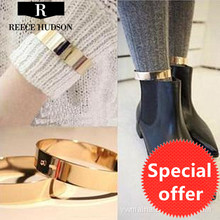 New Fashion exaggerated personality unique metal smooth anklets for women Girl Party Anklet Pins Jewelry Wholesale Free Shipping