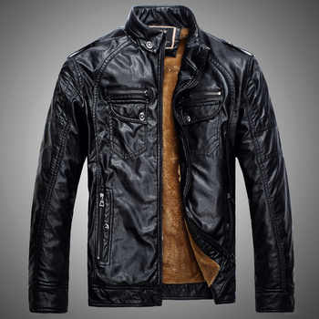 New Fleece Pu Leather Jacket Men Stand Collar Solid Pu Leather Punk Outerwear Motor Biker Overcoats Large Size Male Jackets