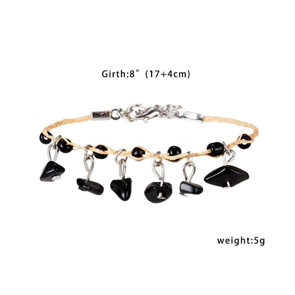 Браслет из натурального камня плетение красочные браслеты из камней ручной работы богемные бусы браслет, женская бижутерия 7 цветов браслеты