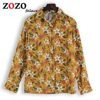Falacs Zozo Ontwerp Herfst Winter Casual Katoen Linnen Vintage Preppy Stijl Zoete Prairie Chic Bloemenprint Blouses Shirts Vrouwen