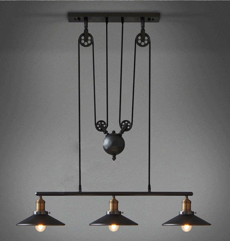 Industrial lighting fixtures for home Electrical Conduit Light Loft Vintage Retro Wrought Iron Black Chandelier Adjustable Pulley Industrial Lamps E27 Edison Pendant Lamp Home Light Fixtures Aliexpress Loft Vintage Retro Wrought Iron Black Chandelier Adjustable Pulley