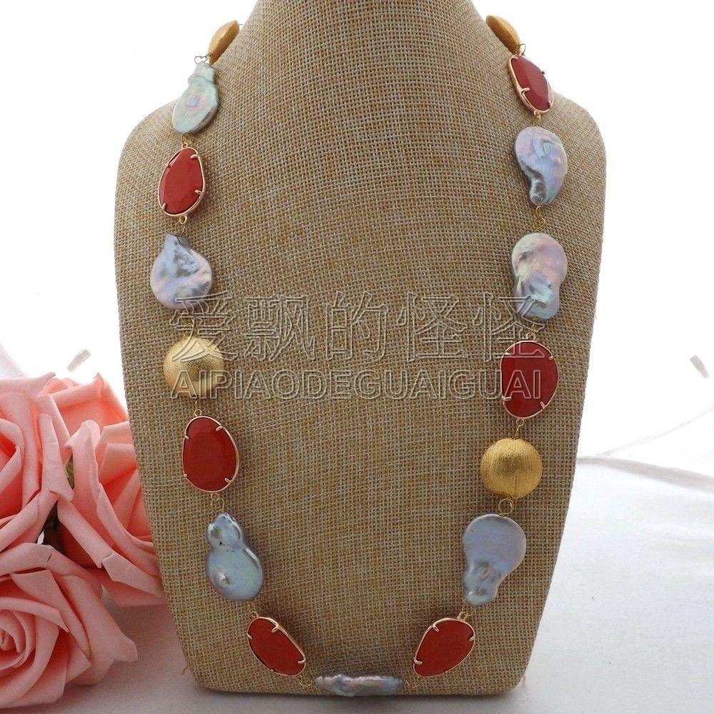"""N062503 27"""" Gray Teardrop Keshi Pearl Red Crystal Necklace"""