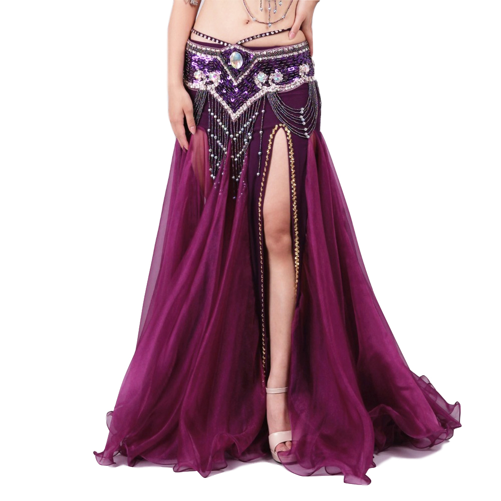 2018 New Belly Dancing Clothes Professional Long Fish Tail Skirts Wrapped Skirt Women Sequins Belly Dance Skirts (without Belt)