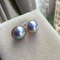 Women Gift word 925 Sterling silver real Long lasting natural Japanese sea water pearl earrings, ear studs, twist edges, Silver