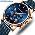 Relogio Masculino CRRJU Роскошные Кварцевые часы для мужчин синий циферблат часы спортивные часы хронограф часы сетка ремень наручные часы