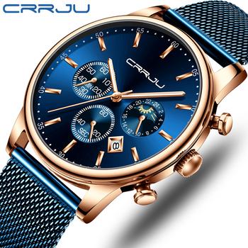 Relogio Masculino CRRJU luksusowy zegarek kwarcowy dla mężczyzn niebieska tarcza zegarki sportowe zegarki chronograf zegar pasek z siatki Wrist Watch tanie i dobre opinie 24cm Moda casual QUARTZ 3Bar Klamra z haczykiem CN (pochodzenie) STOP 11mm Hardlex Kwarcowe zegarki Papier STAINLESS STEEL