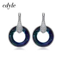 Cdyle Crystals from Swarovski Drop Earrings 925 Sterling Silver Women Earring Jewelry Luxury Fashion Austrian Rhinestone Trendy