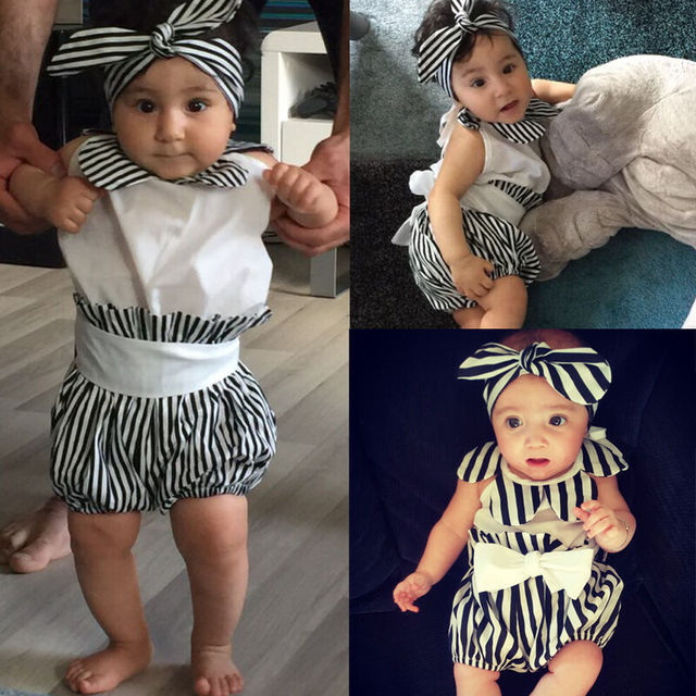 Summer Baby Girl 3pcs Outfits sleeveless Halter white Romper Tops+Stripe bow Shorts+headband  Newborn Kids Clothes Set