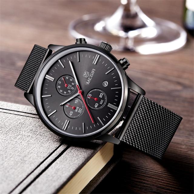 Megir Military Chronograph Watches Men Stainless Steel Mesh Band Waterproof Business Male Clock Men's Wristwatch Luminous
