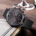 Megir cronógrafo relojes de los hombres militar banda de malla de acero inoxidable reloj luminoso impermeable reloj masculino de los hombres de negocios