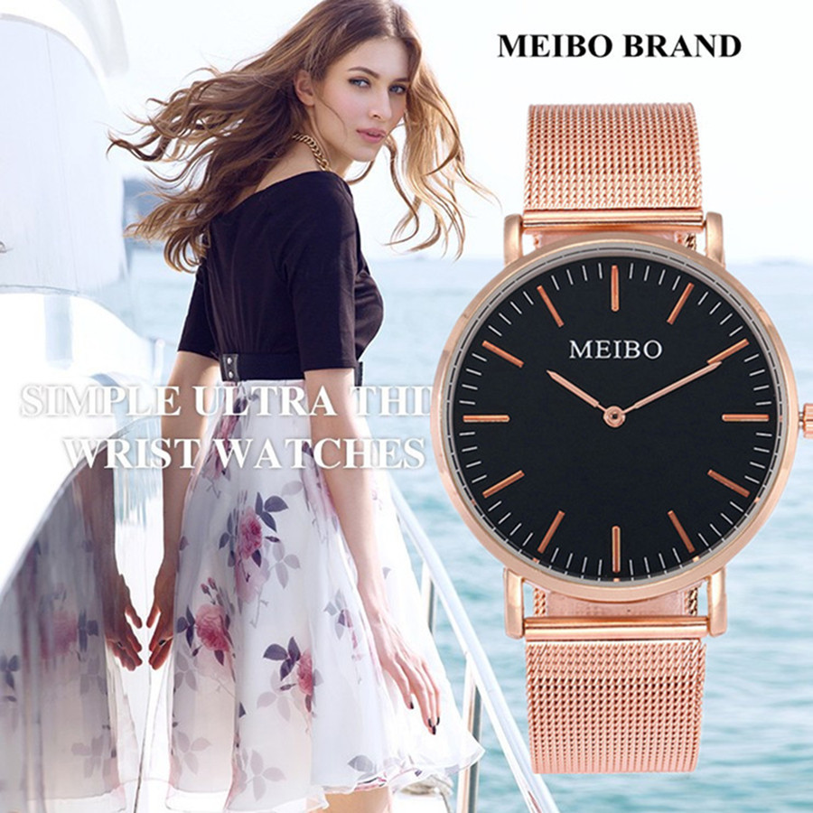 Women Casual Watch MEIBO Brand Stainless Steel Mesh Strap Wristwatch Luxury Ultra Thin Dial Brand Quartz Watch Montre Femme bgg brand creative two turntables dial women men watch stainless mesh boy girl casual quartz watch students watch relogio