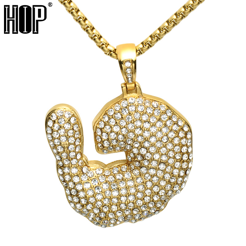 HIP Hop Full Rhineston Crayfish Shrimp Pendant Necklace Bling Iced Out Stainless Steel Gold Color Necklaces for Men Jewelry trendsmax hip hop iced out bling full rhinestone men necklace gold stainless steel chain necklace for men jewelry khn109