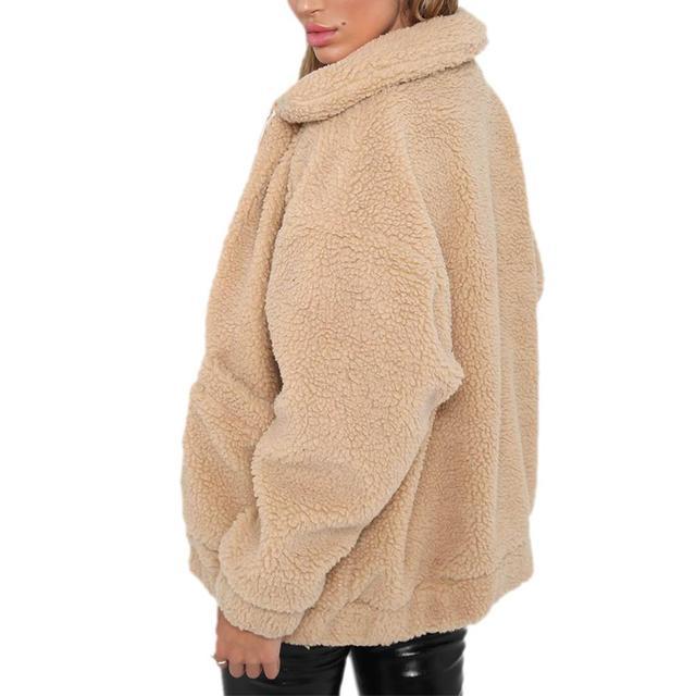 Fashion Lapel Sweatshirt Fleece Fur Coat 2018 Women Autumn Winter Warm Soft Jacket Thick Plush Zipper Overcoat Short Outerwear 4