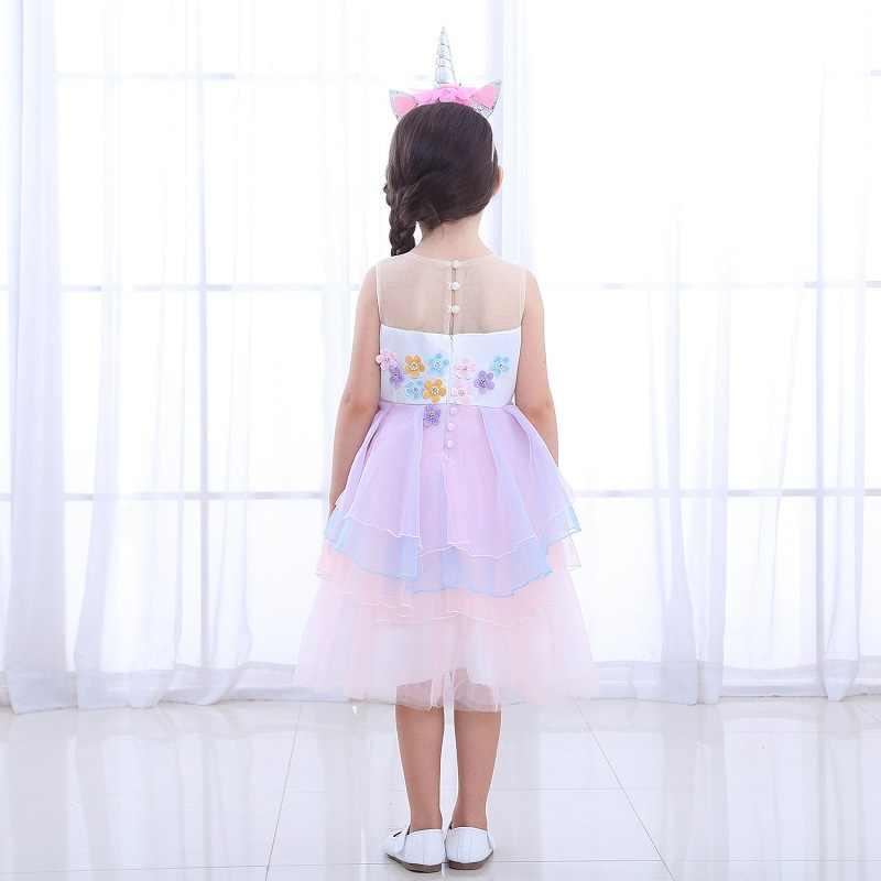 Unicórnio Vestido Da Menina de Verão Meninas Princesa Vestidos de Festa Para Crianças Traje de Noite Vestido de Festa Bruidsmeisjes Jurk Robe Noel Fille