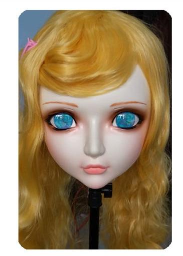 Women/girl Sweet Resin Half Head Kigurumi Bjd Mask Cosplay Japanese Anime Lifelike Lolita Mask Crossdressing Sex Doll Kids Costumes & Accessories gl033