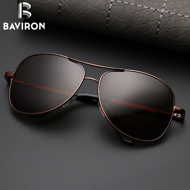 Baviron солнцезащитные очки-авиаторы Для мужчин поляризованных солнцезащитных очков черный пилот Óculos путешествия очки для вождения Модные мужские очки UV400