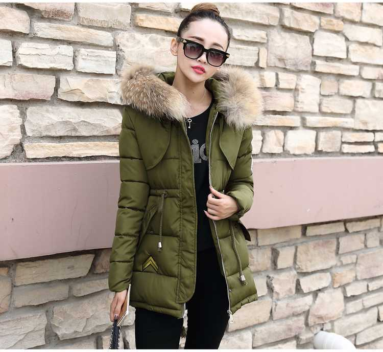 New Arrival Fashion Korean Winter Cotton Padded Jackets Large Fur Hooded Collar Lace-Up Waist Slim Thickening Women Coat H5237 new arrival fashion korean winter hooded cotton adjustable hem double breasted puff sleeve fur collar women jacket coat h4283