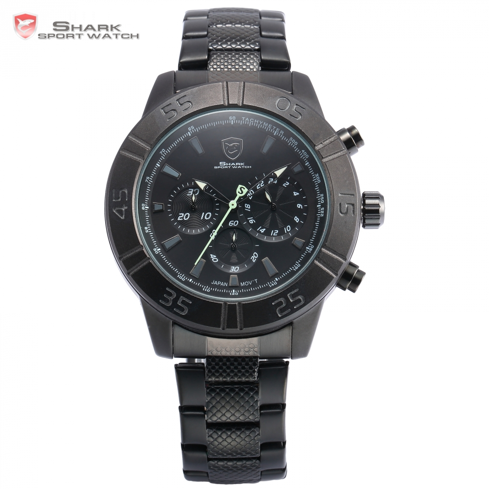 Brand Shark Sport Watch Waterproof Chronograph Green Hand Fashion Male Clock Black  Band Analog 6 Hands Tag Quartz-watch/ SH302 shark sport watch black relogio 6 hands