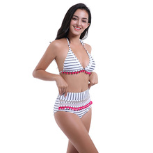 New Style European and American Style Bikini Neck Swimsuit High Waist Bikini Mesh Split Swimwear Bathe Swimming Suit high neck mesh panel bikini set