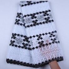 Tela de encaje de malla africana de seda de leche negra blanca, tela de encaje de malla francesa de alta calidad, tela de encaje de tul Nigeriano para boda A1600