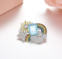 925 Sterling Silver Luxury Hot Colorful Rainbow Cute Brooch Colorful Sun Cloud Zircon Women Brooch Pin Jewelry Blue Square Stone