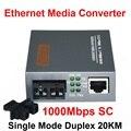 Fibra Óptica Conversor de Mídia Gigabit HTB-GS-03 10/100/1000 Mbps Porta da Fibra Monomodo 20 KM SC Externo fonte de Alimentação