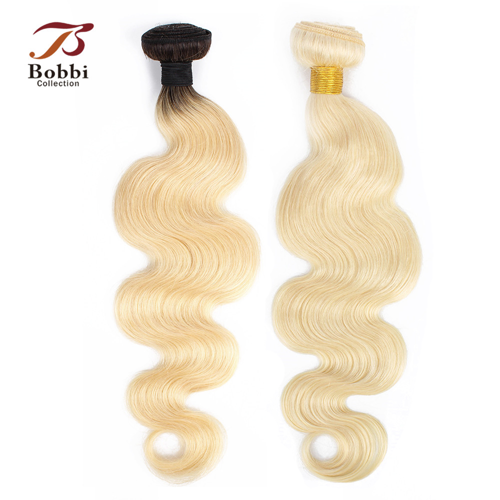 Bobbi Collection 1 Bundle Color 613 Platinum Blonde Dark Root 1B 613 Brazilian Body Wave Hair Extension Remy Human Hair Weave