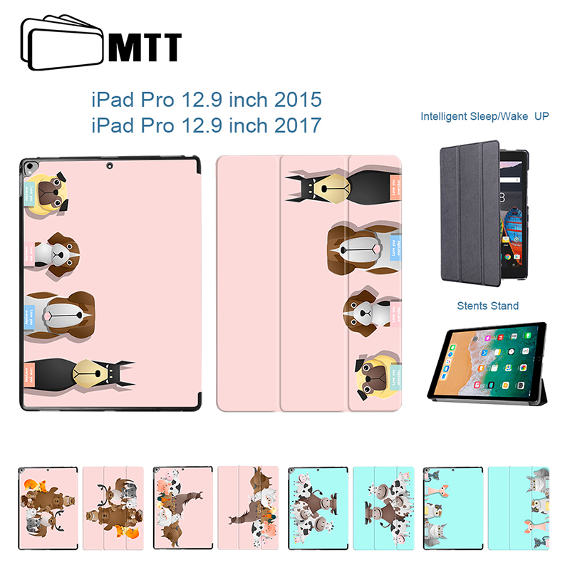 MTT Cute Animal Family Flip PU Leather Case For iPad Pro 12.9 inch 2017 Cover For iPad 12.9 2015 Pro 12.9 Case Coque Fundas