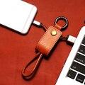Keychain EDC Anel Chave USB Cabo de Carregamento Genuíno Couro 3.0A Carga Rápida cabo de dados para iphone 5 6 6 s para ipad ios9 para xiaomi 3