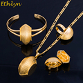 Ethlyn Bridge Shape Ethiopian Gold Plated  Jewelry Sets Women Wedding Party Black Rope Eritrean Jewelry Sets Accessories S065