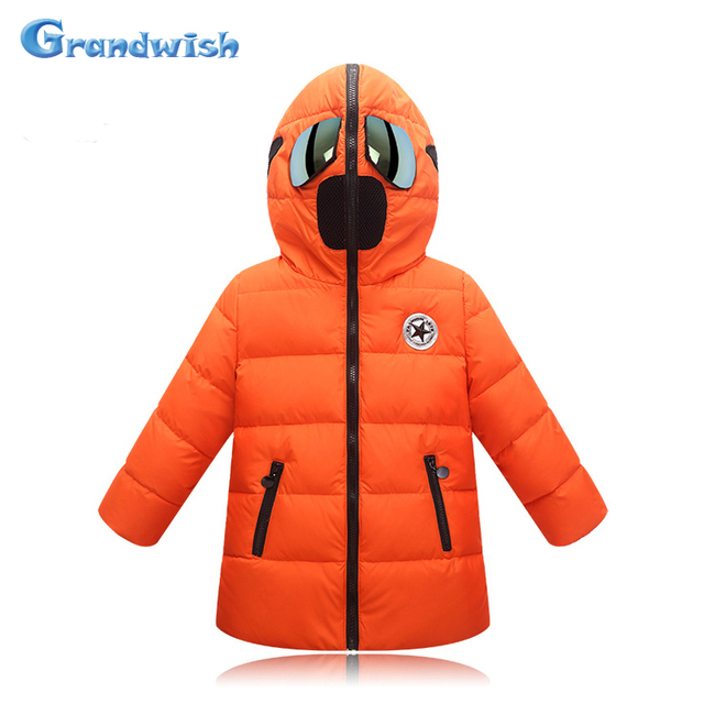 Grandwish Winter Girls Glasses Cool Down Jackets Kids Cartoon Hooded Warm Coat Boys Outerwear Kids Casual Clothing 3T-12T, SC446