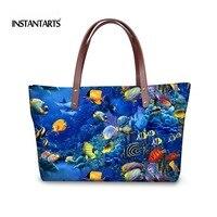 INSTANTARTS 2018 Luxury Designer Handbags for Women 3D Tropical Fish Pattern Ladies Top Handle Bag Casual Big Tote Shoulder Bags