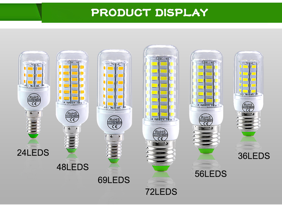 E27 LED Bulb E14 LED Lamp 220V 24 36 48 56 69 72LEDs Bombillas Ampoule LED E27 E14 Corn Light Bulbs For Home Chandelier Lighting (13)
