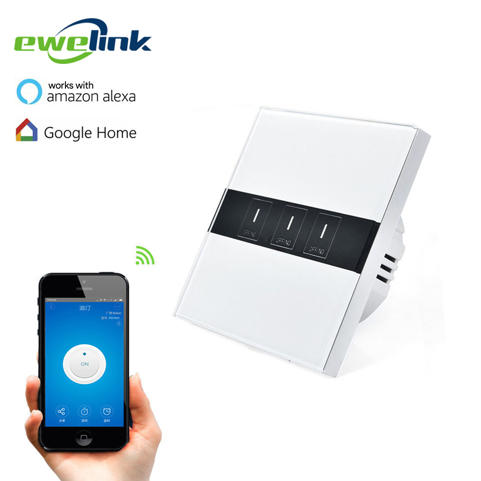 EU Standard eWelink 3 Gang 1 way Wifi Control Switch via Android IOS, Wireless Control Light Touch Wall Switch for Smart Home ewelink us type 2 gang wall light smart switch touch control panel wifi remote control via smart phone work with alexa ewelink