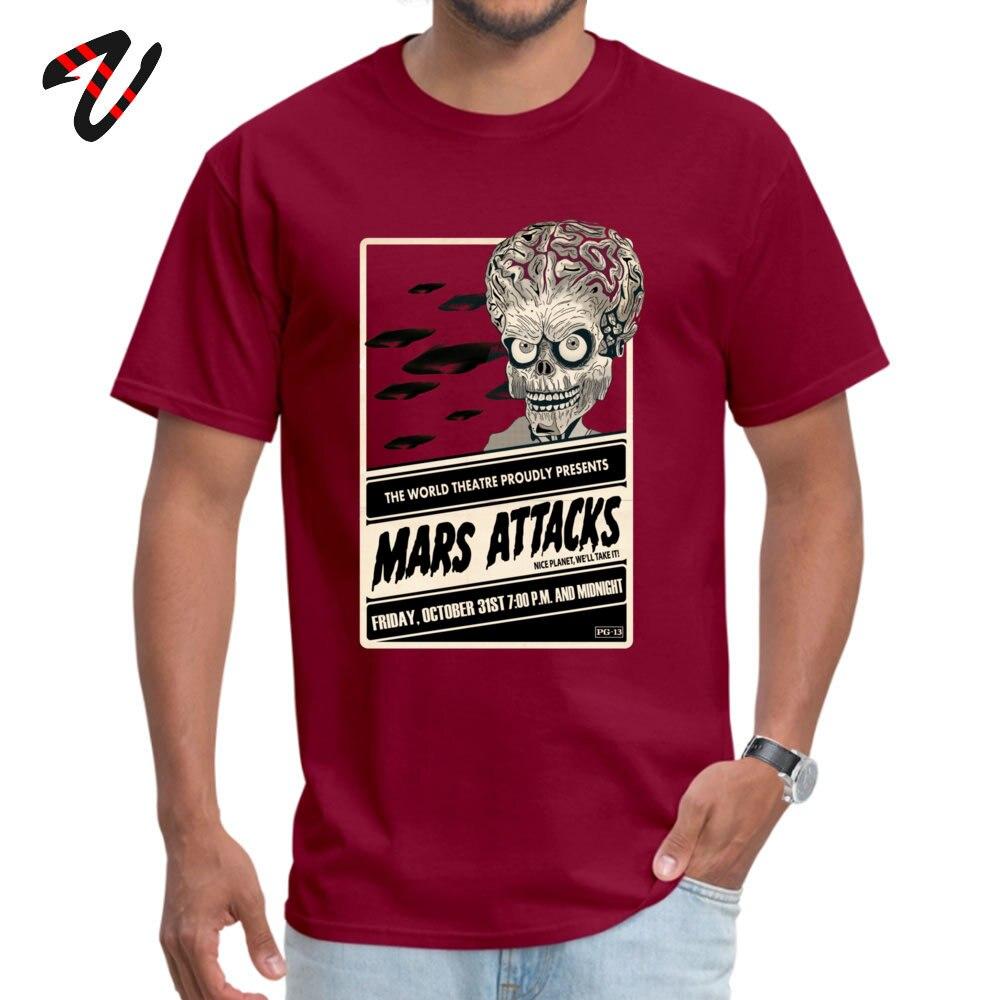 Mars Attacks! Discount Men T Shirt Crew Neck Short Sleeve 100% Cotton Tees Summer T Shirt Top Quality Mars Attacks! -2878 maroon