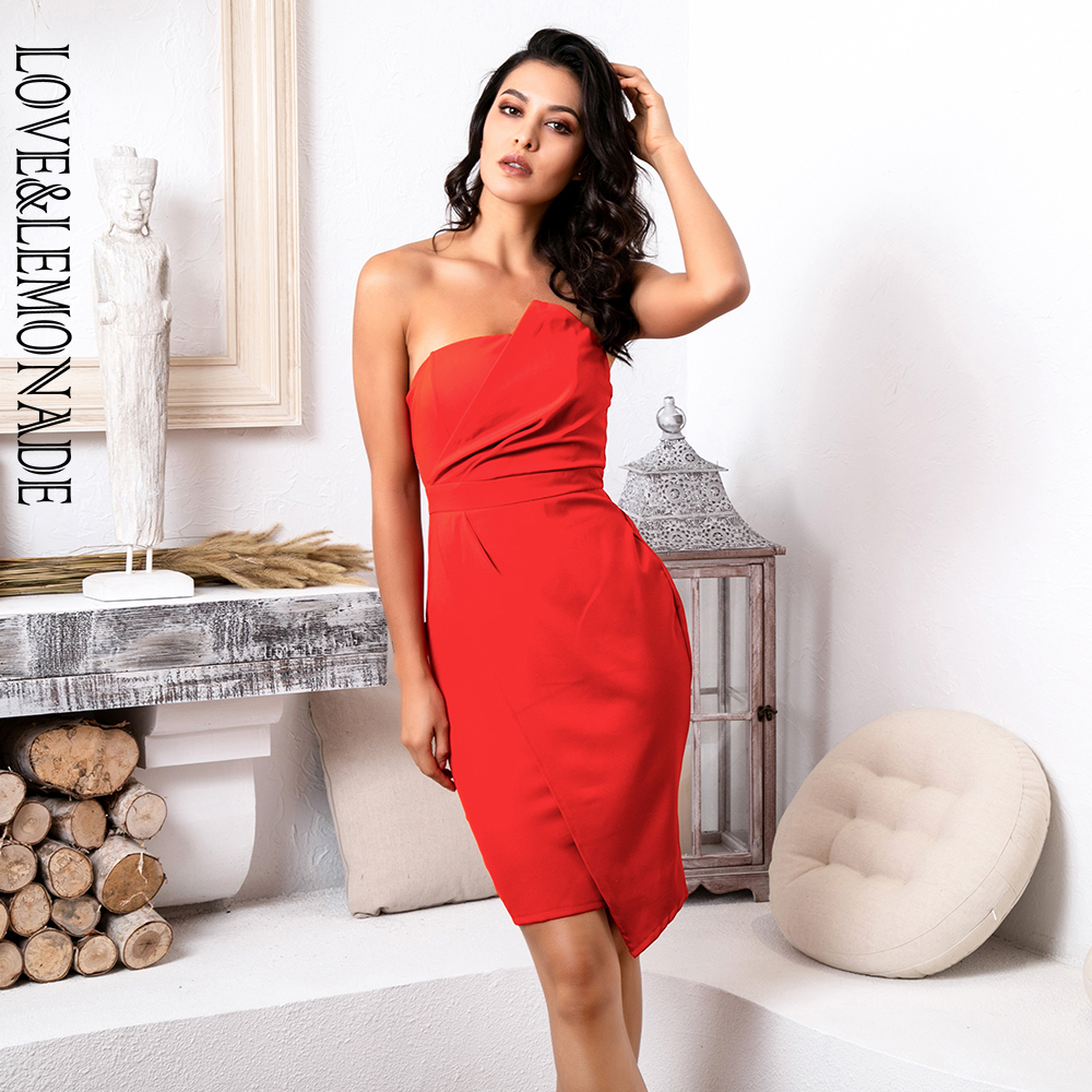 Love&Lemonade Sexy Red Strapless Irregular Cross Bodycon Party Dress LM81666