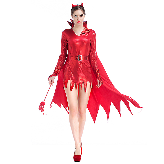 263c2892b2c US $21.99 8% OFF|Adult Women Halloween Red Devil Costume Ox Vampire Sparkle  Bodysuit Robe Dress Sexy Wicca Cosplay Clothes For Girls XL Plus Size-in ...