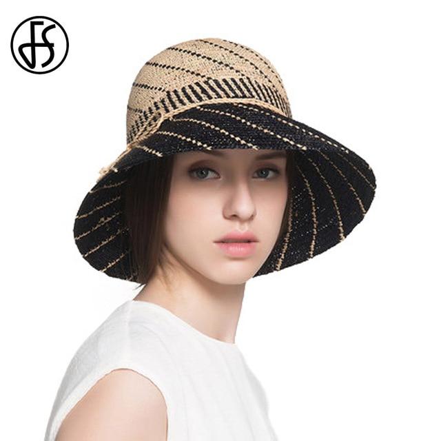FS naturaleza rafia Sombreros de paja para las mujeres verano ala ancha  playa viseras tapa femenina 3c03a52e1a4