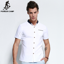 Pioneer camp.Free shipping! 2017 new summer men shirt 100%cotton business casual mens shirts younger fashion slim men clothing