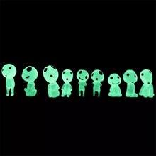цена на 10pcs Princess Mononoke Glow in dark Ghibli Action Figure Kodamas Luminous Elf Tree Dolls Resin Cartoon model toys