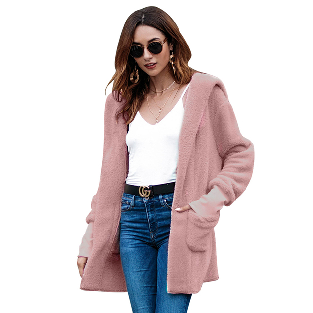 Women Coat Autumn Winter Jacket Oversized Loose Fleece Hooded Cardigan Outwear Coats New Fashion Womens Clothes 2018 Russian New