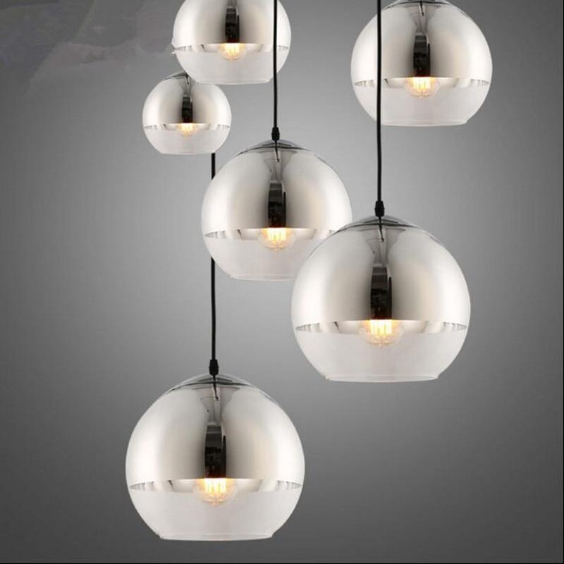 modern Plated Glass Pendant lights Mirror Ball light indoor lamp living dinig The restaurant  lightings hanging light fxiture диски helo he844 chrome plated r20