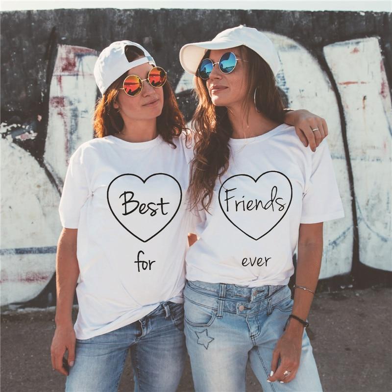LUSLOS Best Friends For Ever Women Summer   T     Shirt   Short Sleeve Casual Ladybro Tshirt Matching Girlfriends Clothes Streetwear Top