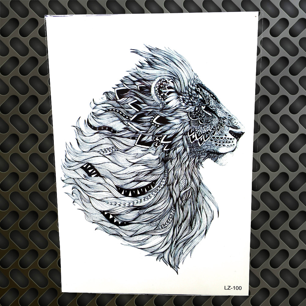Beauty & Health Tattoo & Body Art Hot Tiger Blue Ink Red Eye Temporary Tattoo Stickers Men Cool Body Arm Waterproof Tatoo Watercolor Painting Drawing Tattoo Women