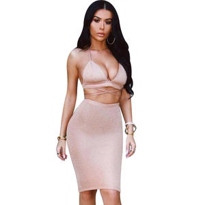 bf4ae0dd27e8ec Sexy Sparkly Bandage Bodycon Dress Women Halter Deep V-Neck Lace Up Crop  Top Two Piece Set Sunmmer Evening Party Vestidos F3