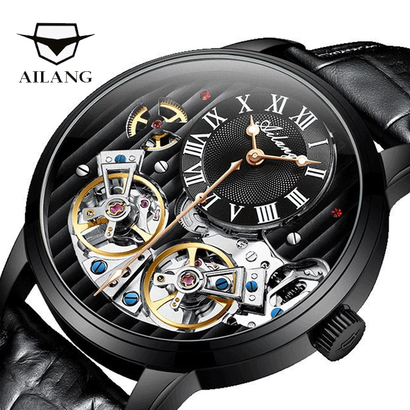 Top luxury brand expensive men's watch automatic mechanical quality watch Roman double tourbillon Swiss watch leather male 2019-in Mechanical Watches from Watches    1
